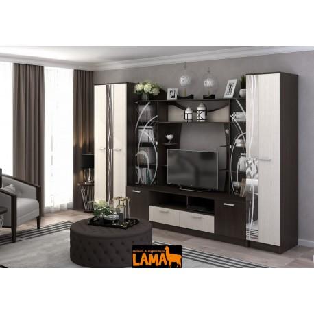 Ольбия - современная стенка со шкафом в гостиную фото