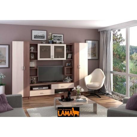 Марта - современная стенка со шкафом в гостиную фото
